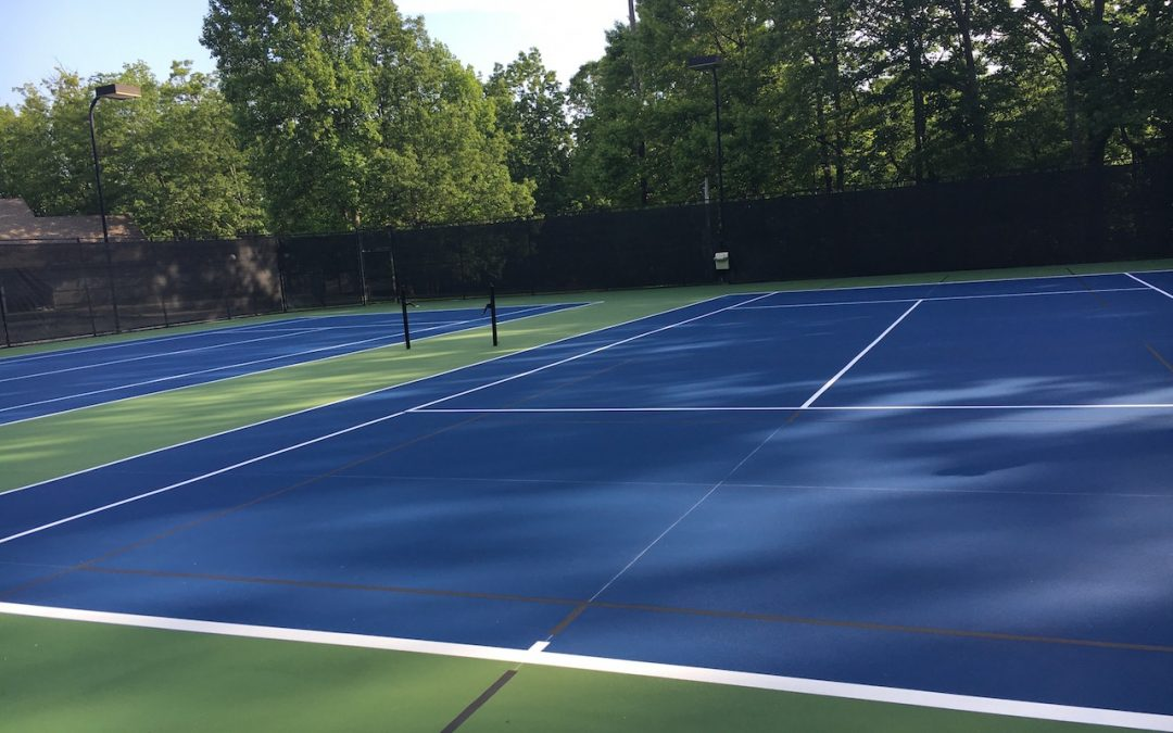 Outdoor Tennis Hardcourt resurfacing almost complete!